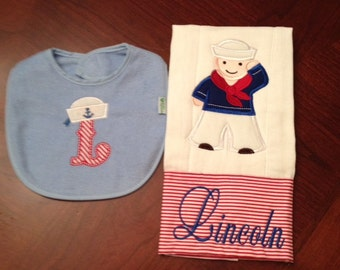 Sailor burp cloth and bib set