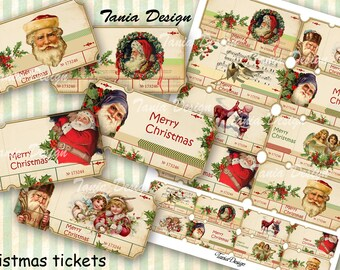 Vintage Christmas tickets - Digital Collage sheet printable images Background Ephemera Clip Art Embellishment