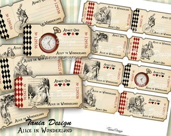 Alice in Wonderland Tickets 4x 2 inch Digital Collage sheet printable images Background Ephemera Clip Art Embellishment