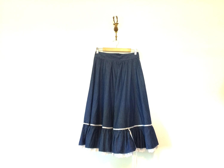 western denim woodland prairie skirt