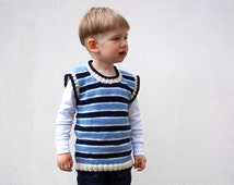 Kids vest Hand knitted merino wool jacket for toddler Navy Blue spring kids waistcoat Made to order