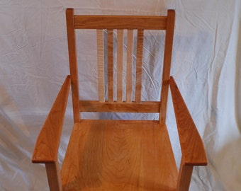 Curly Maple and Cherry Mission Style Arm Chair