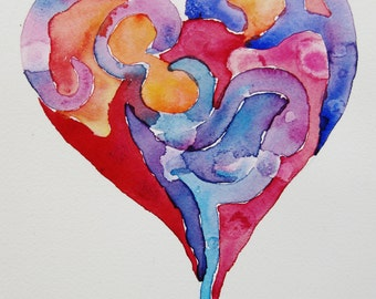 Heart watercolor painting, original watercolor painting, heart painting