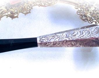 Vintage 800 SILVER CIGAR HOLDER 800 Sterling Silver Etched Folate Patten Bakelite Cigarette or Cigar Holder