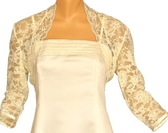 Ladies Ivory Lace 3/4 Sleeve Bolero Shrug