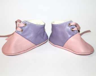 6-12 Months Slippers / Baby Shoes Lamb Leather pink Purple Pastel Colors