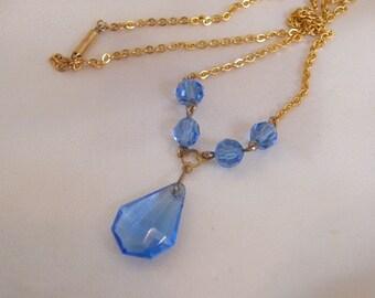 Pretty 1940's Glass Necklace - Cornflower Blue Glass Stones - Czech