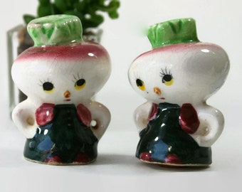 Anthropomorphic Turnip or Radish Salt and Pepper Shakers from Japan with Corks