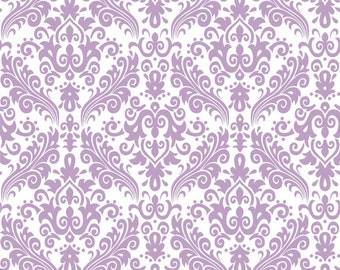 "Lavender on White Damask Fabric by Riley Blake  ""Hollywood.""  Lavendar Purple - 100% cotton.  C820-120"