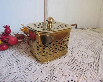 Vintage Square Brass Trinket Box Mid Century Girl's Room Home Decor Country Cottage Farmhouse