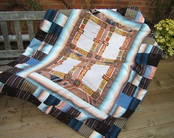 Australian Patchwork Quilt, Bed Cover, Eiderdown, Lap Quilt, Sofa Throw with Aboriginal Designs