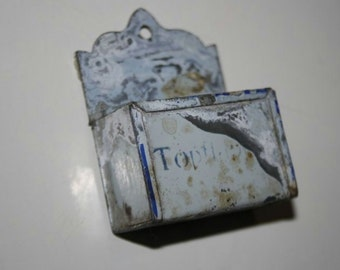 Ancient dollhouse accessories: Potholders container made of metal. VINTAGE