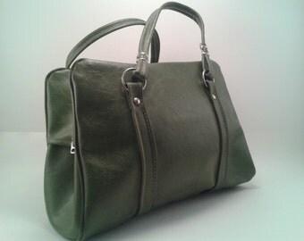 Vintage Green Vinyl Handbag with Silver