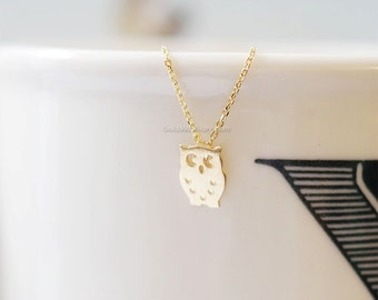 tiny Gold owl necklace, tiny owl necklace Gold, simple necklace, dainty, cute, animal necklace, necklace for women, birthday gift.