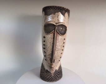 Raku Studio Pottery Head Planter/Sculpture