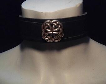 Black Leather Celtic Cross Collar