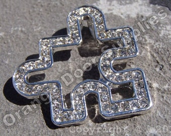 Crystal Autism Puzzle Piece Pendant 30mmx30mm- 1 Pc (ASD106)
