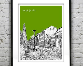 Reykjavik Iceland City Skyline Poster Art Print Item T1157