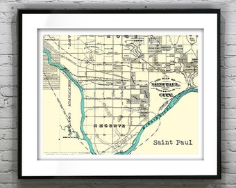 Saint Paul Minnesota Poster Art Vintage Map Print Mn Version 5