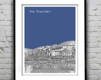 San Francisco Poster Print Skyline Art California CA Fisherman's Wharf Version 8