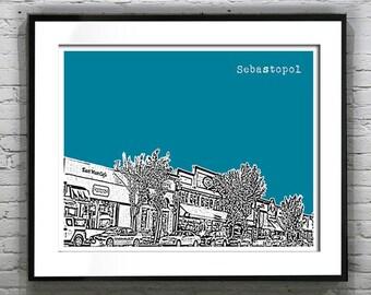 Sebastopol California Skyline Poster Art Print CA