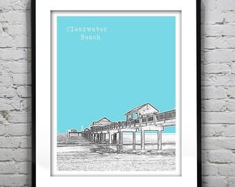 Clearwater Beach Skyline Poster Art Print Florida FL Version 1