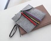 3 colors,Pencil Case/ Make Up Bag/ Pencil Roll/ Art Wrap/ Cosmetic Bag