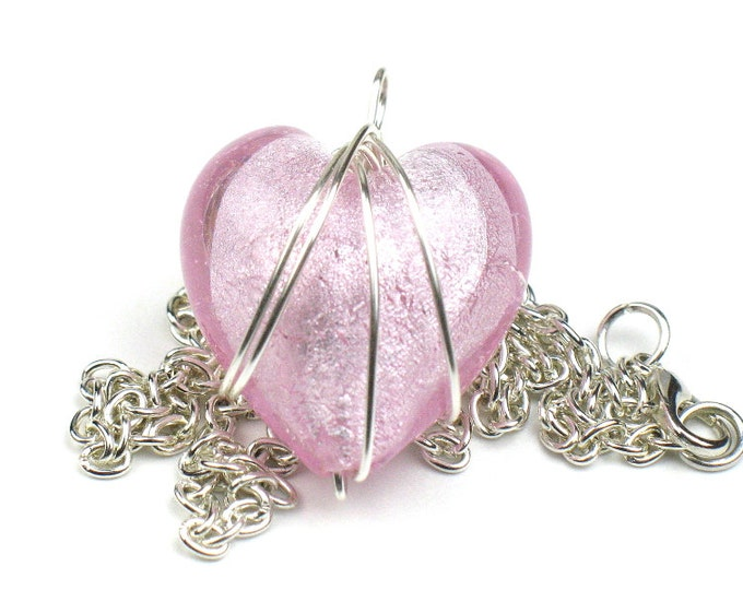 Pink Heart Necklace with Silver Chain and Wire Wrapped Glass Pendant
