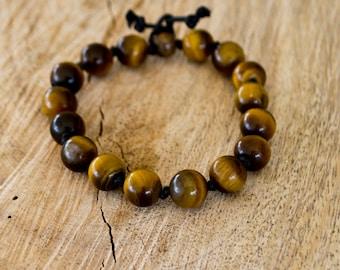 FREE SHIPPING WORLDWIDE-Tiger Eye Bracelet-Gemstone Bracelet-Mens Bracelet-Unisex Bracelet-Adjustable Bracelet-Knotted Bracelet-Reiki Gift