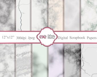 Digital Scrapbooking White Marble Paper Pack  -INSTANT DOWNLOAD-Digital Paper for Personal or Commercial Use - 12 Sheets - 300 DPI -