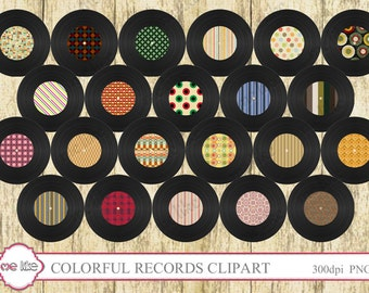 Digital Colorful Records Clip Art -INSTANT DOWNLOAD-22 Individual Png Files -Clipart for Personal or Commercial Use  - 300 DPI Embellishment