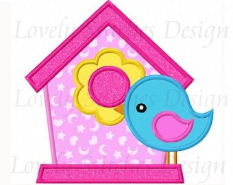 Bird House Applique Machine Embroidery Design NO:0254