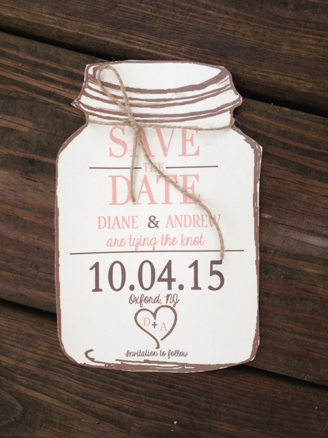 rustic mason jar save the dates with kraft by rusticpapers