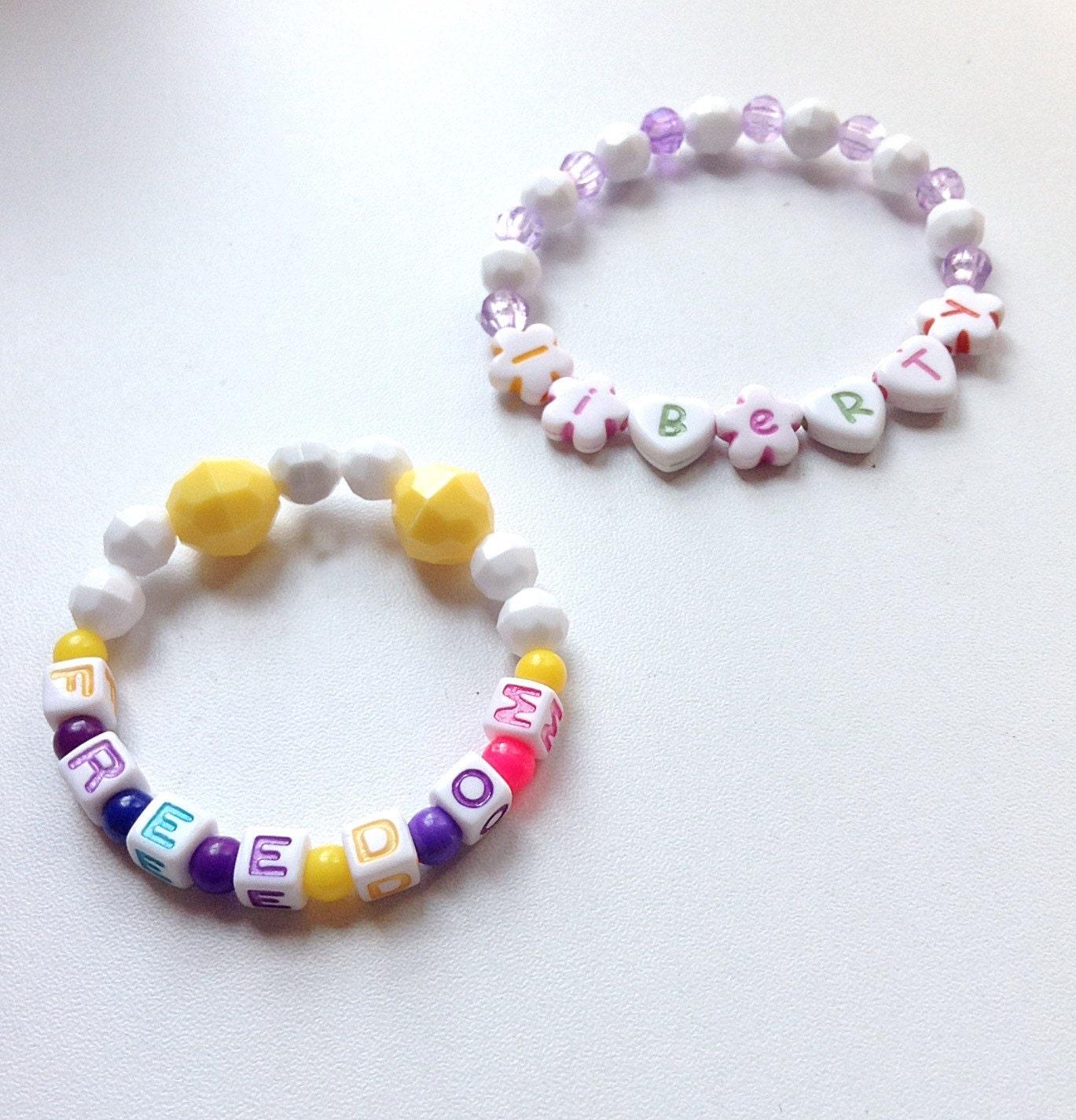 freedom and liberty beaded bracelet alphabet bead bracelet