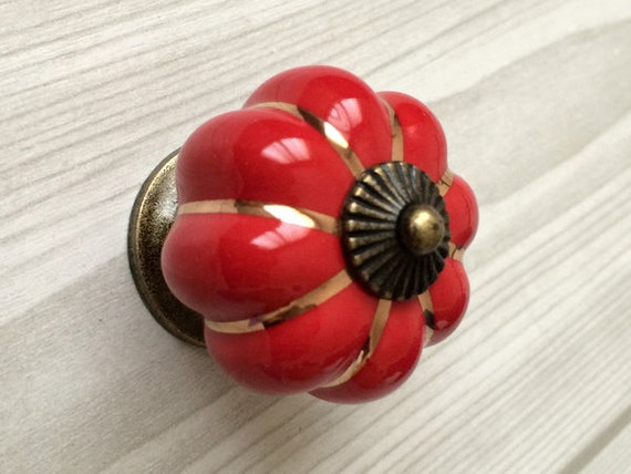 Red cabinet knobs pumpkin knobs kitchen dresser knob drawer - Red kitchen cabinet knobs ...