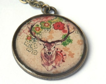 Deer necklace - Stag pendant - Deer jewelry - Antique style  - Antler necklace - Animal jewelry - enchanted