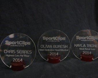 """Laser engraved awards 5"""" in diameter. Base included. Custom designs available. Email us your design"""