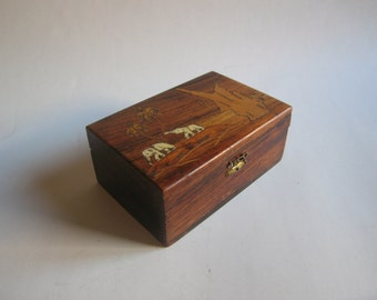 antique inlaid wooden box from Cyprus