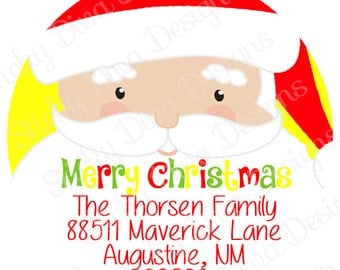 PERSONALIZED STICKERS - Custom Santa Christmas Gift Tag - Address labels -  Labels- Round Gloss Labels - Great for Christmas Presents