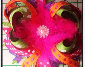 Orange lime pink purple boutique feather bow