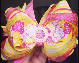 Yellow and pink boutique bow