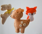 Rustic Woodland Baby Mobile, Crib Mobile, Nursery Decor, Forest Mobile with Deer, Fox, Rabbit and Bird