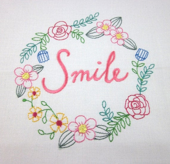 Hand embroidered quilt blocks quotes