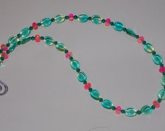 Aqua and Pink Czech Glass Necklace