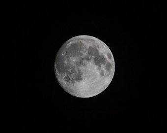 Black & White Photography - Moon - fine art print, home decor, wall photo, full supermoon, monochrome, astronomy, night, sky, lunar