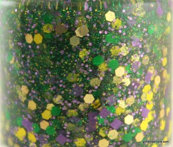 Nola - Mardi Gras nails green yellow purple glitter nail polish gold holographic 5 free nail polish vegan cruelty free handmade indie polish