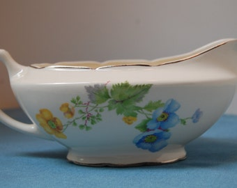 Vintage Gravy Boat, Flowered Gravy Boat, Crooksville China, Floral Gravy Boat, Gravy Bowl, Serving Bowl