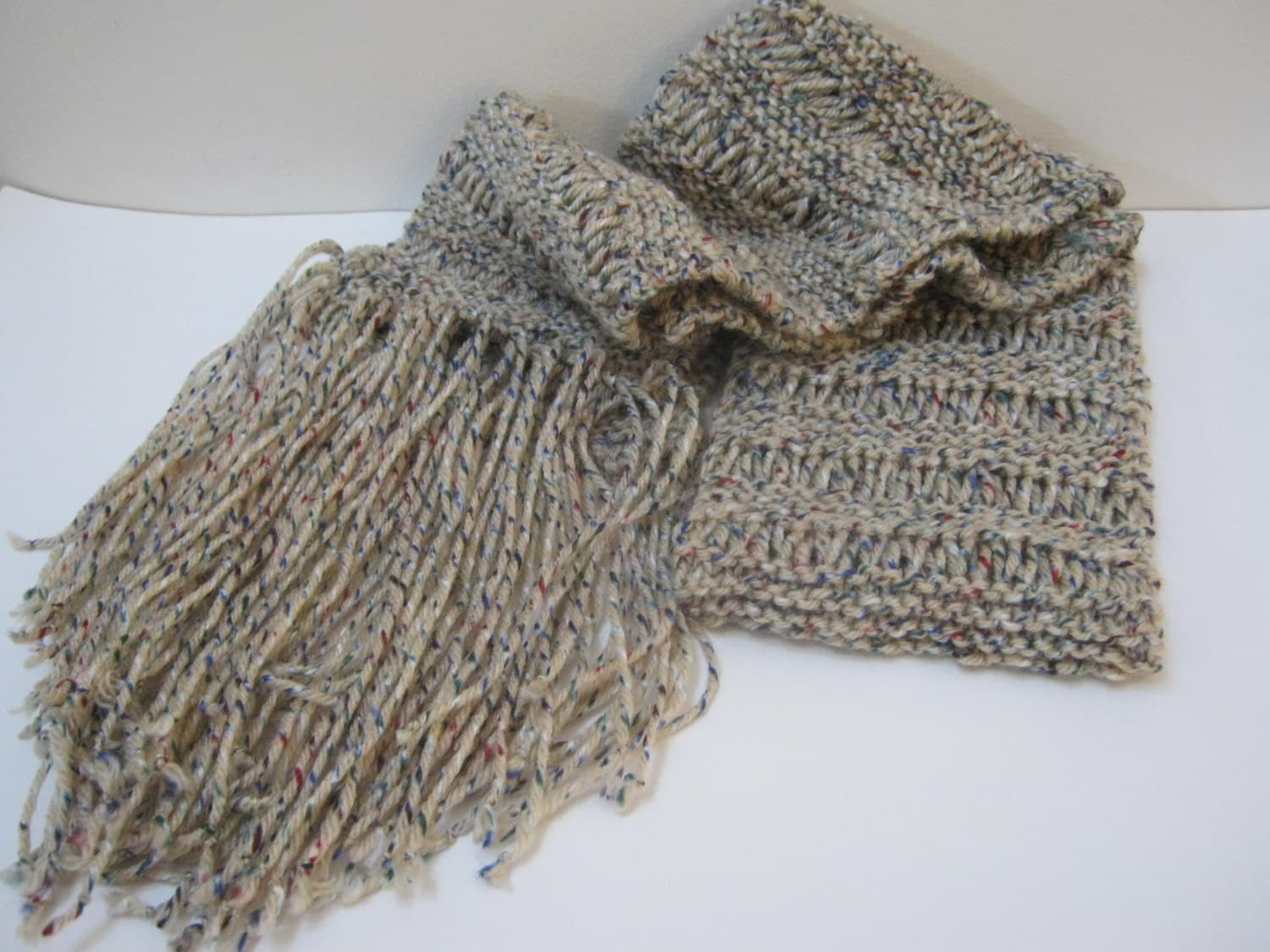 Hand Knit Ribbon Scarf Beige Multi Color Ribbon Scarf Winter