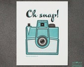 Wall Art, Wall Decor, Oh Snap Vintage Camera Hand Made Letterpress Art Print, JJD-LP-OSP
