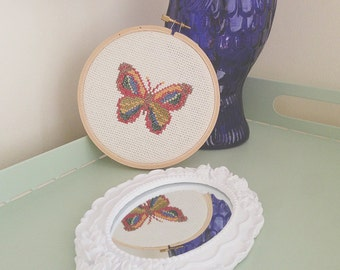 Cross Stitch Butterfly in Embroidery Hoop